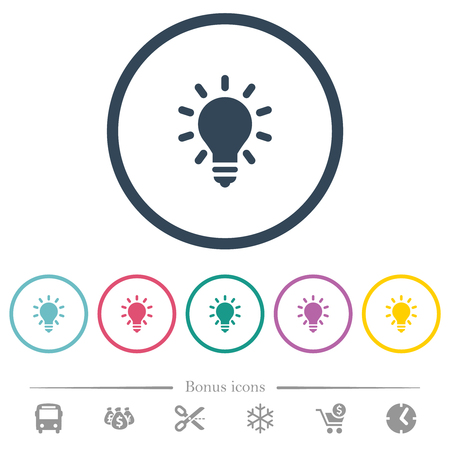 Lighting bulb flat color icons in round outlines. 6 bonus icons included.