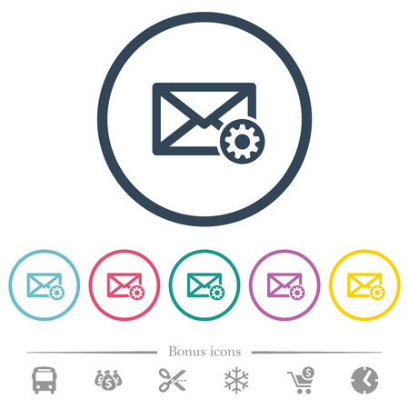 Mail settings flat color icons in round outlines. 6 bonus icons included. Ilustração
