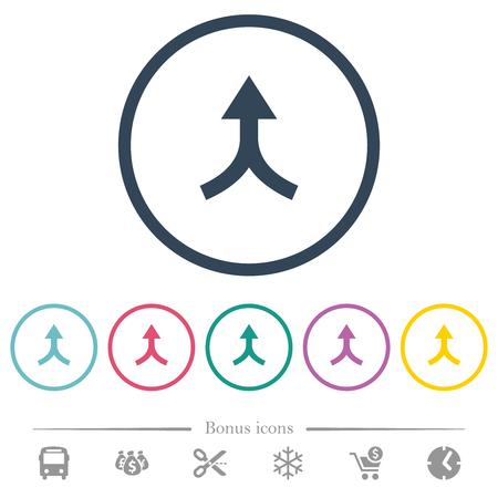 Führen Sie Pfeile nach oben flache Farbsymbole in runden Umrissen zusammen. 6 Bonussymbole enthalten. Vektorgrafik