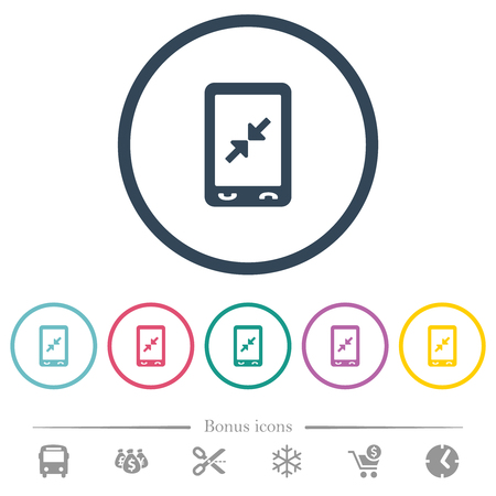 Mobile pinch close gesture flat color icons in round outlines. 6 bonus icons included.