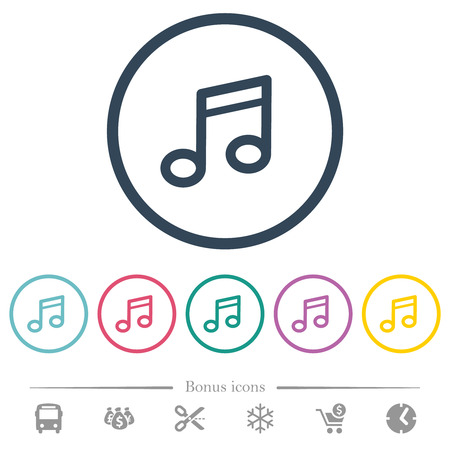 Music note flat color icons in round outlines. 6 bonus icons included. Illustration