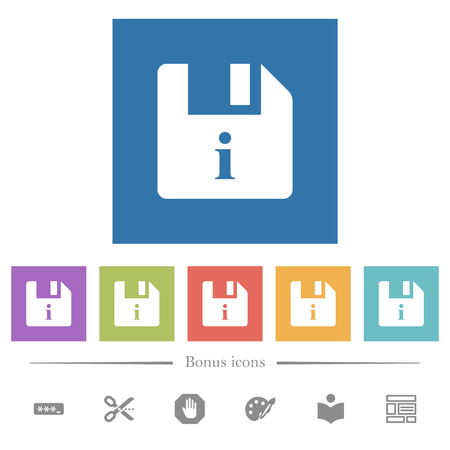 File info flat white icons in square backgrounds. 6 bonus icons included.