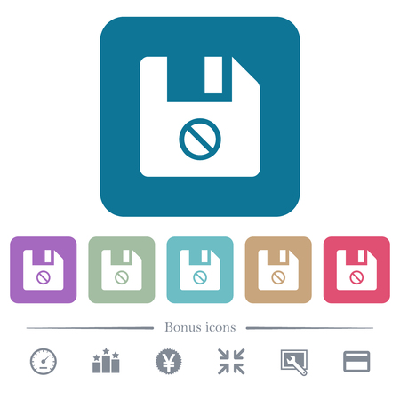 Disabled file white flat icons on color rounded square backgrounds. 6 bonus icons included Ilustrace