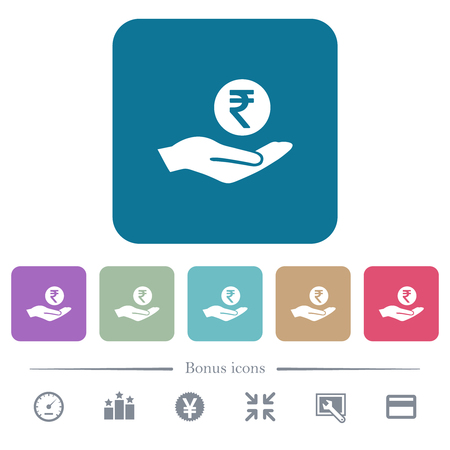 Indian rupee earnings white flat icons on color rounded square backgrounds. 6 bonus icons included