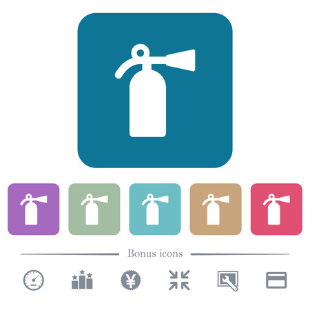 Fire extinguisher white flat icons on color rounded square backgrounds. 6 bonus icons included Ilustrace