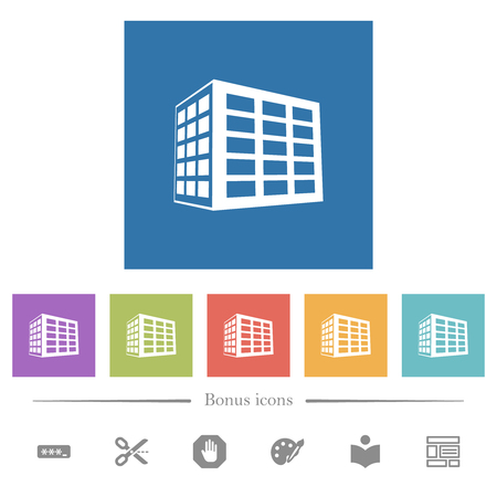 Office block flat white icons in square backgrounds. 6 bonus icons included.