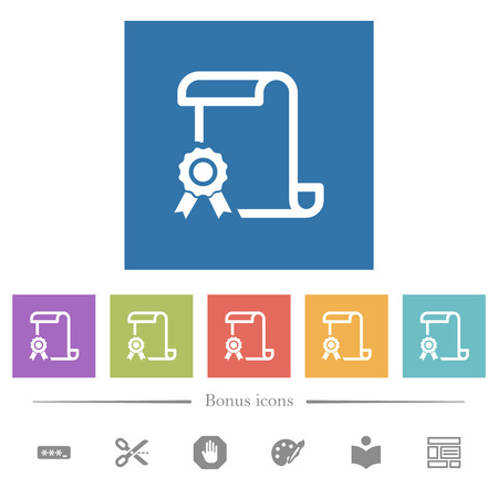 Scroll with certificate on left flat white icons in square backgrounds. 6 bonus icons included.
