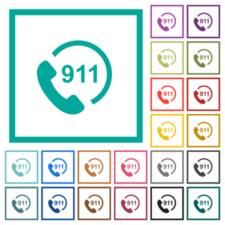 Emergency call 911 flat color icons with quadrant frames on white background
