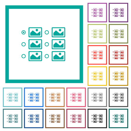 Single image selection with radio buttons flat color icons with quadrant frames on white background  イラスト・ベクター素材