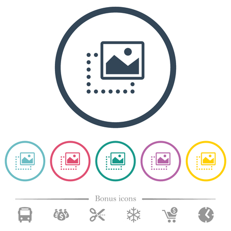 Drag image to top right flat color icons in round outlines. 6 bonus icons included. Ilustração