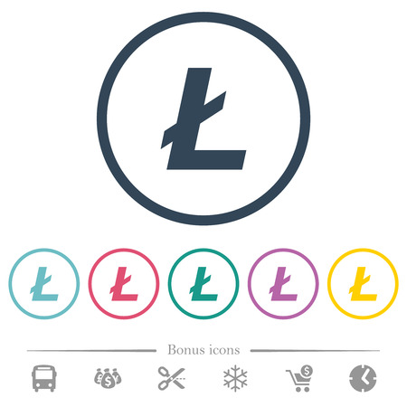 Litecoin digital cryptocurrency flat color icons in round outlines. 6 bonus icons included. Ilustrace