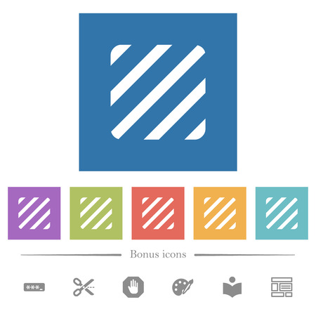 Texture flat white icons in square backgrounds. 6 bonus icons included.