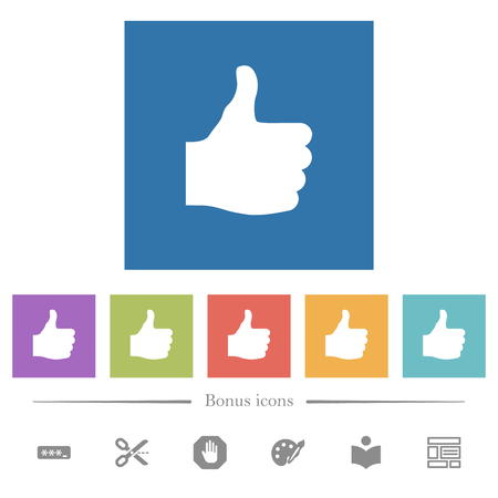 Thumbs up flat white icons in square backgrounds. 6 bonus icons included. Ilustrace