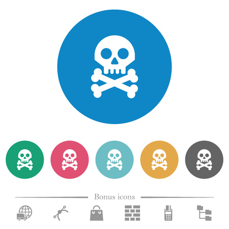 Skull with bones flat white icons on round color backgrounds. 6 bonus icons included. Illustration