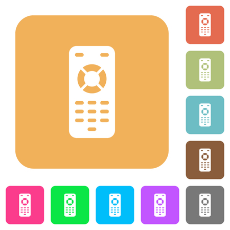 Remote control flat icons on rounded square vivid color backgrounds.