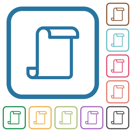 Blank paper scroll simple icons in color rounded square frames on white background