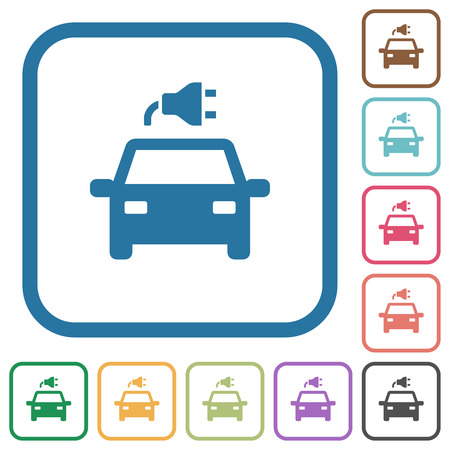 Electric car with connector simple icons in color rounded square frames on white background