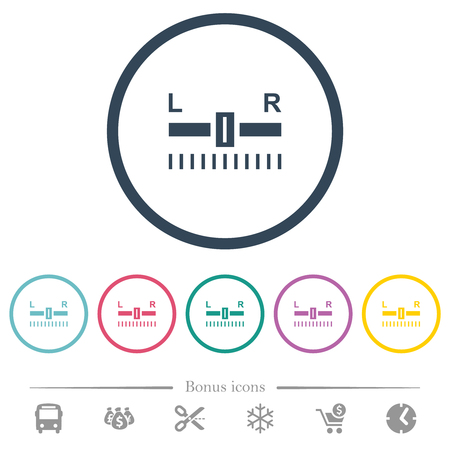 Audio balance control flat color icons in round outlines. 6 bonus icons included.