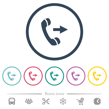 Outgoing phone call flat color icons in round outlines. 6 bonus icons included. Illustration