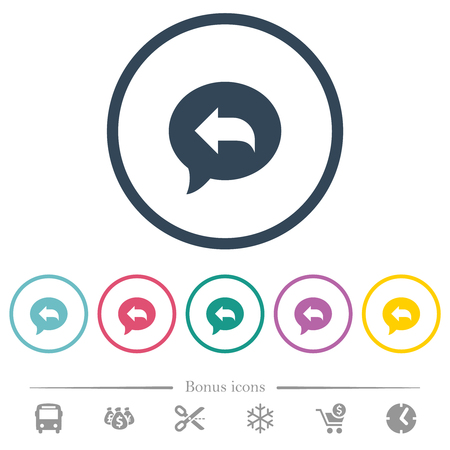 Reply message flat color icons in round outlines. 6 bonus icons included. Ilustração