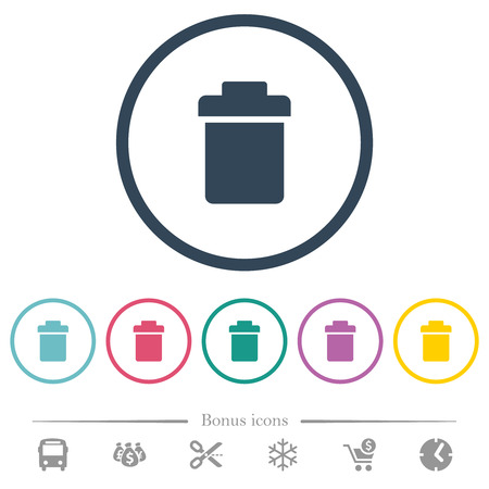 Single trash flat color icons in round outlines. 6 bonus icons included. Banco de Imagens - 124905035