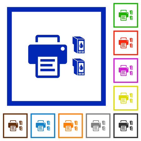 Printer and ink cartridges flat color icons in square frames on white background
