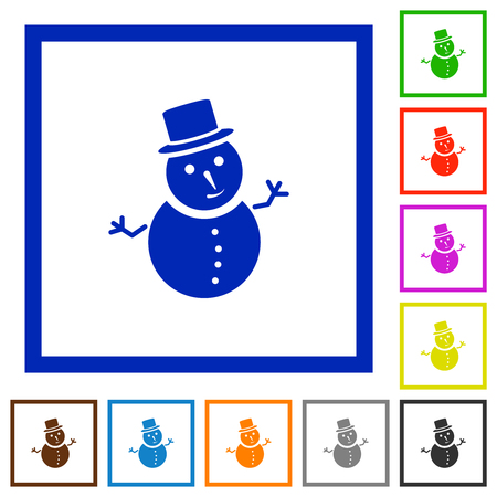 Snowman flat color icons in square frames on white background Ilustrace