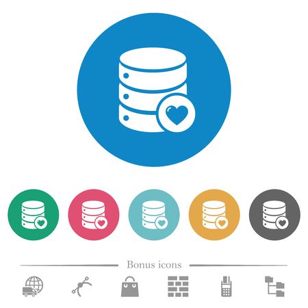 Favorite database flat white icons on round color backgrounds. 6 bonus icons included.