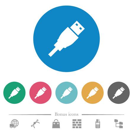 USB plug flat white icons on round color backgrounds. 6 bonus icons included.