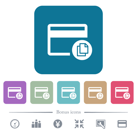 Credit card transaction templates white flat icons on color rounded square backgrounds. 6 bonus icons included