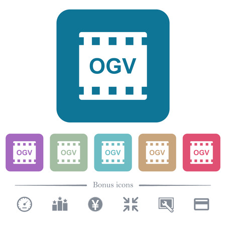 OGV movie format white flat icons on color rounded square backgrounds. 6 bonus icons included