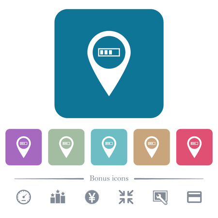 Route planning GPS white flat icons on color rounded square backgrounds. 6 bonus icons included