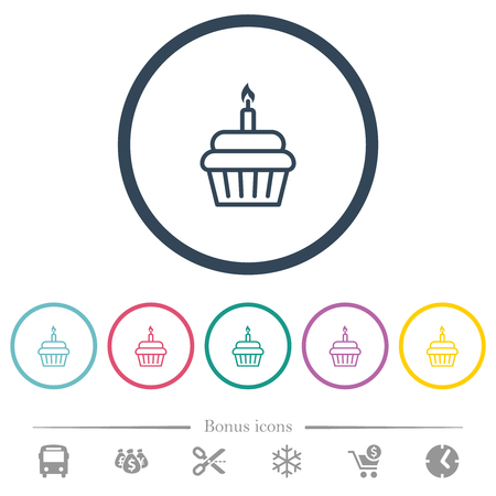 Birthday cupcake flat color icons in round outlines. 6 bonus icons included.