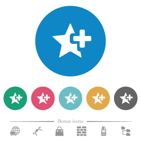 Add star flat white icons on round color backgrounds. 6 bonus icons included.