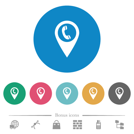 Call box GPS map location flat white icons on round color backgrounds. 6 bonus icons included. Ilustração