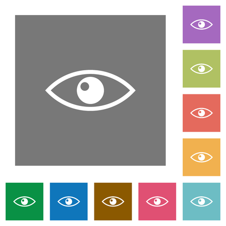 Eye flat icons on simple color square backgrounds Illustration