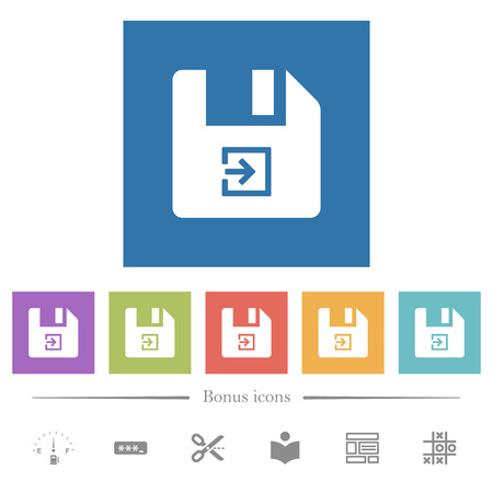 Import file flat white icons in square backgrounds. 6 bonus icons included. 일러스트