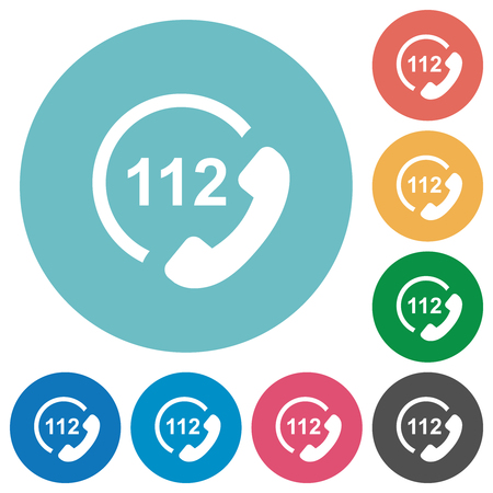 Emergency call 112 flat white icons on round color backgrounds Banque d'images - 124801578