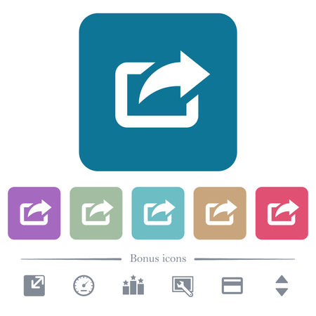 Export with upper right arrow white flat icons on color rounded square backgrounds. 6 bonus icons included