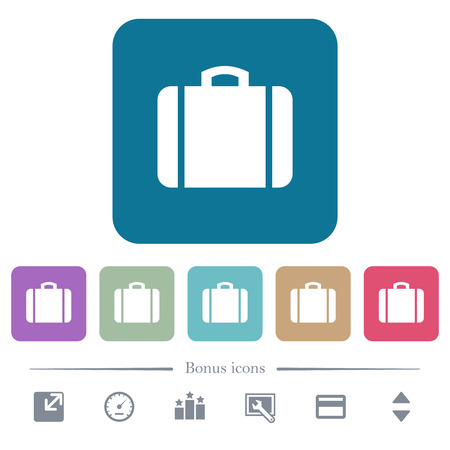Suitcase white flat icons on color rounded square backgrounds. 6 bonus icons included