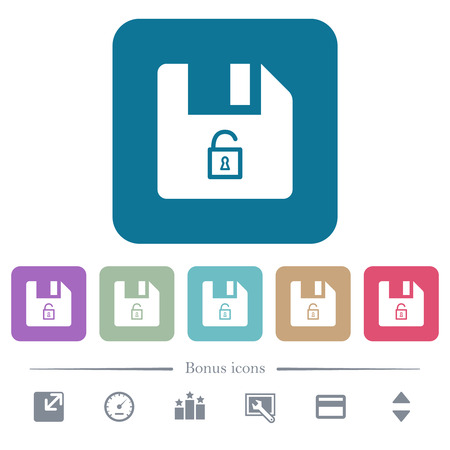 Unlock file white flat icons on color rounded square backgrounds. 6 bonus icons included