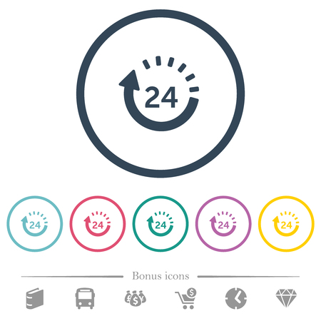 24 hour delivery flat color icons in round outlines. 6 bonus icons included.