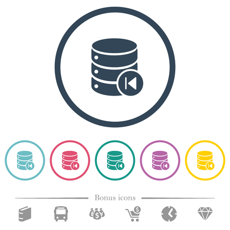 Database macro prev flat color icons in round outlines. 6 bonus icons included.