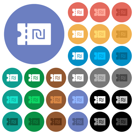 New Shekel discount coupon multi colored flat icons on round backgrounds. Included white, light and dark icon variations for hover and active status effects, and bonus shades.
