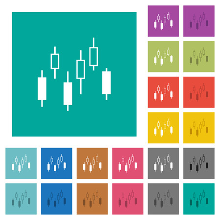 Candlestick chart multi colored flat icons on plain square backgrounds. Included white and darker icon variations for hover or active effects.