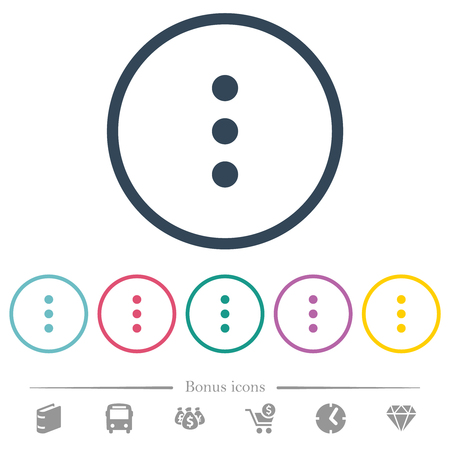 More options flat color icons in round outlines. 6 bonus icons included.