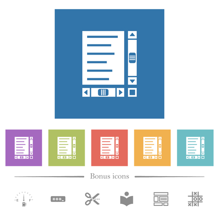 Document with content and scroll bars flat white icons in square backgrounds. 6 bonus icons included.