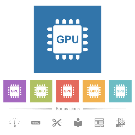 Graphics processing unit flat white icons in square backgrounds. 6 bonus icons included.