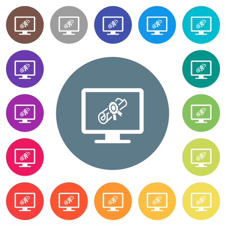 Webinar on monitor flat white icons on round color backgrounds. 17 background color variations are included.