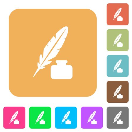 Feather and ink bottle flat icons on rounded square vivid color backgrounds. Reklamní fotografie - 124753734